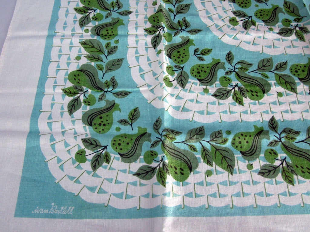Funky Green Aqua Pears Ivan Bartlett Fruit Vintage Printed Tablecloth (50 X 49)