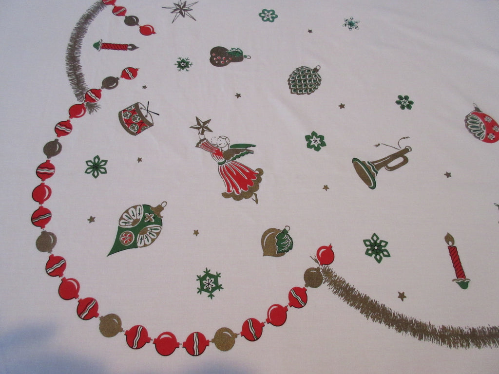 Larger Christmas Ornaments Angels Icons Novelty Vintage Printed Tablecloth (76 X 61)