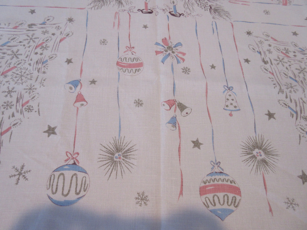 Falflax Pastel Christmas Trees Ornaments Novelty Vintage Printed Tablecloth (51 X 48)
