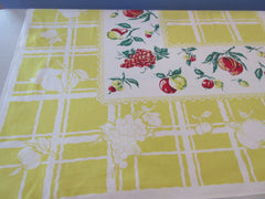 Primary Fruit on Lemon Yellow Plaid Vintage Printed Tablecloth (49 X 45)
