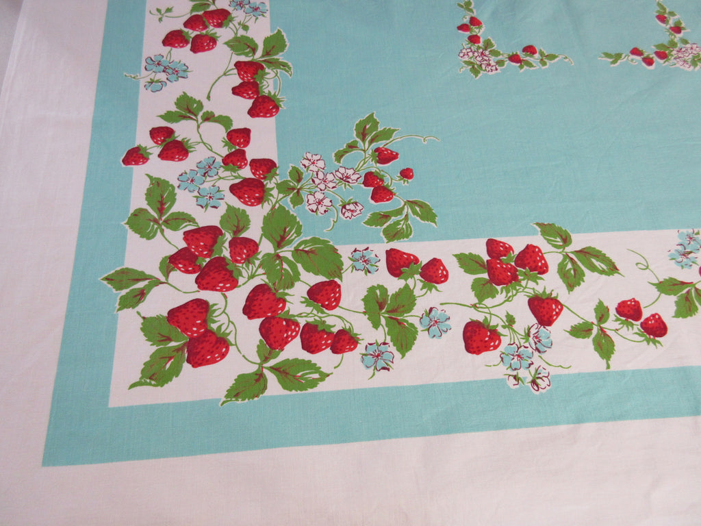 Luscious Strawberries on Turquoise Fruit Vintage Printed Tablecloth (50 X 47)