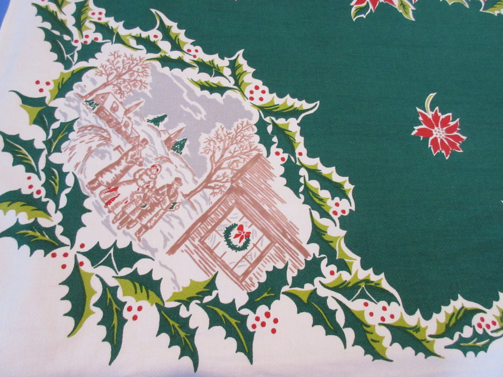 Victorian Christmas Vignettes on Green Novelty Vintage Printed Tablecloth (63 X 50)