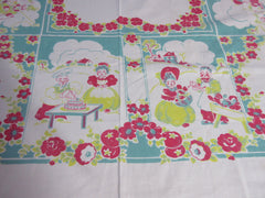 Shabby Early Broderie Lady of the House Novelty Vintage Printed Tablecloth (51 X 46)