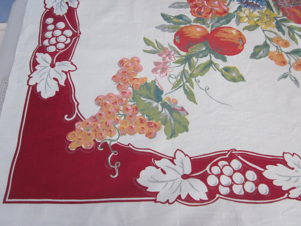 Fab Watercolor Fruit on Red Vintage Printed Tablecloth (53 X 51)