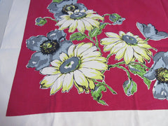 Bold Daisies on Ruby Red Floral Vintage Printed Tablecloth (53 X 48)