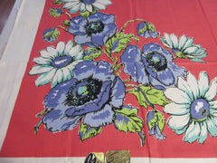 Bold Daisies Poppies on Coral MWT Floral Vintage Printed Tablecloth (53 X 52)