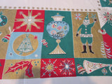 HTF Mod Santa Christmas Trees Large Gierosh Novelty Vintage Printed Tablecloth (79 X 57)