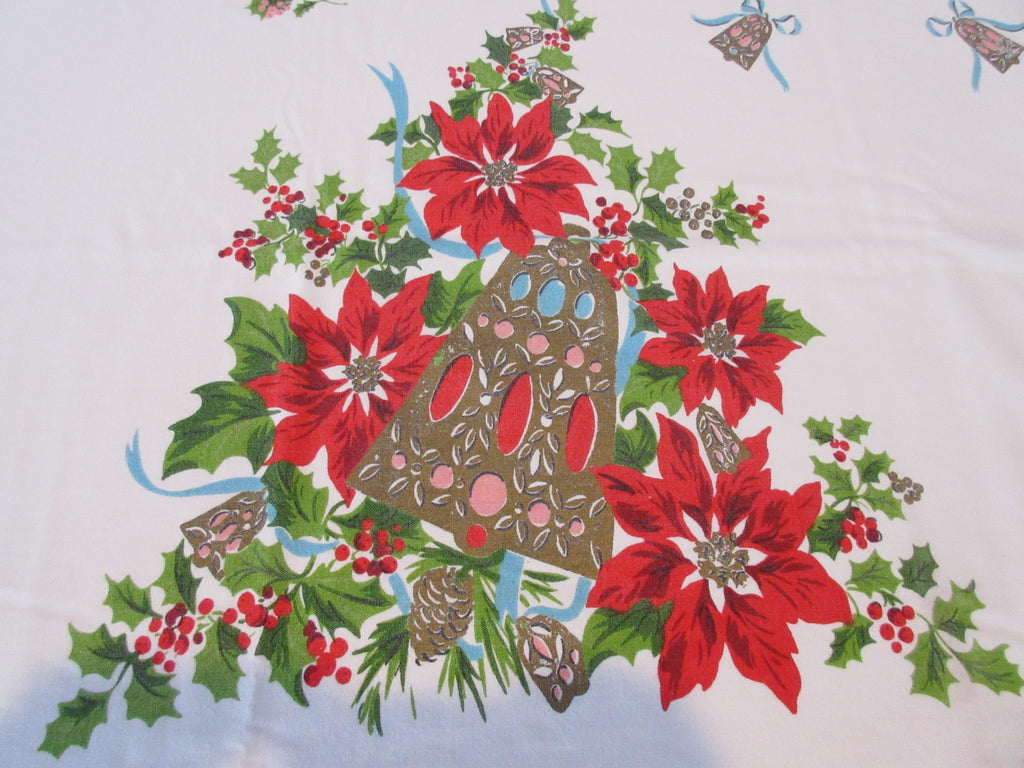 HTF Pastel Pink Blue Golden Bells Christmas Novelty Vintage Printed Tablecloth (76 X 59)