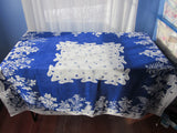 Damaged Rare State Flowers Novelty Linen Vintage Printed Tablecloth (52 X 52)