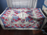 Early Pink Clematis Floral on Blue Vintage Printed Tablecloth (51 X 47)