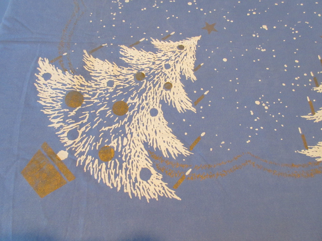 Damaged CHP White Gold Christmas Trees on Blue Novelty Vintage Printed Tablecloth (84 X 61)