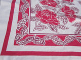 Early Red Peonies Floral Vintage Printed Tablecloth (49 X 44)