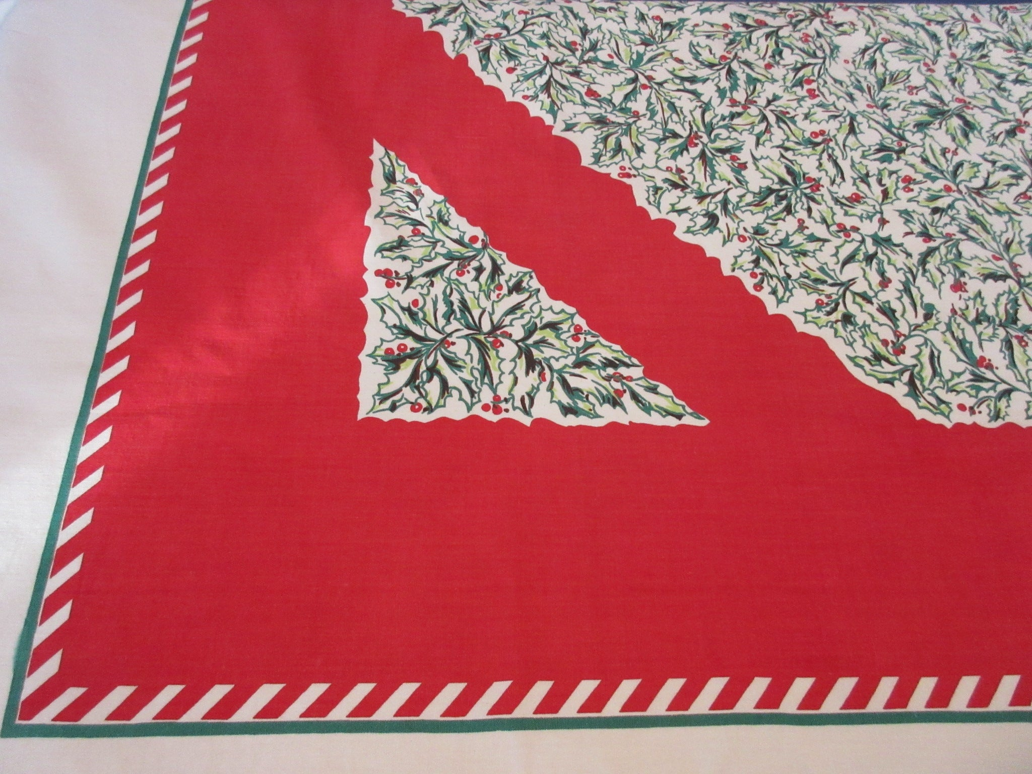 Stunning Green Holly on Red Christmas Novelty Vintage Printed Tablecloth (70 X 56)