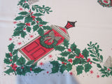 Red Door Horse Sleigh Christmas Cutter? Novelty Vintage Printed Tablecloth (53 X 43)