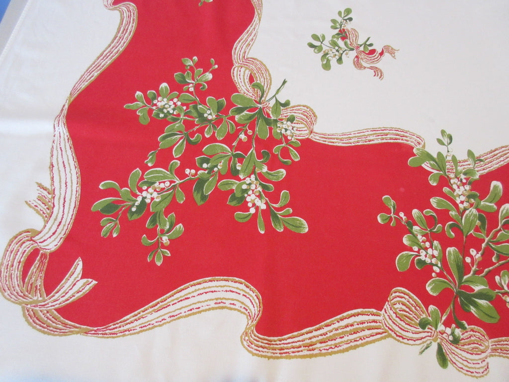 CHP Mistletoe on Red Christmas Cutter Novelty Vintage Printed Tablecloth (62 X 54)