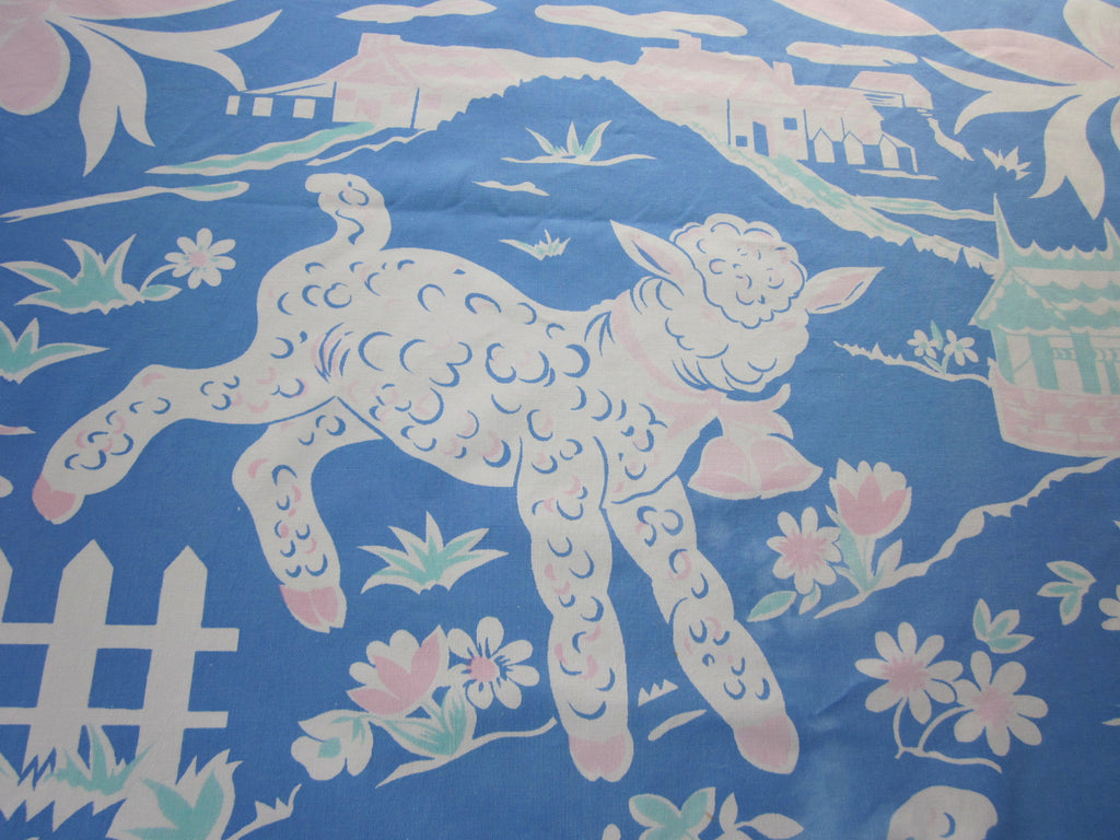 Rare Easter Lamb Sheep Coverlet Novelty Vintage Tablecloth (60 X 41)