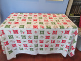 Large Hardy Craft Christmas Icons Linen Novelty Vintage Printed Tablecloth (80 X 58)