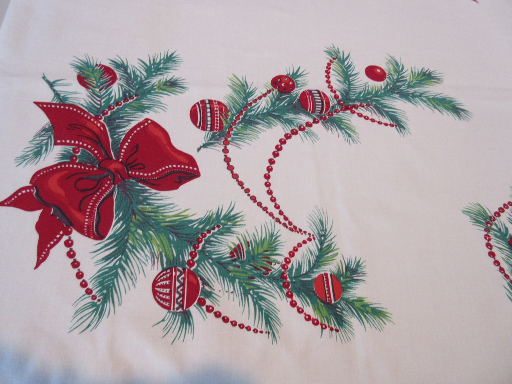 Wilendur Christmas Boughs Ribbons Novelty Vintage Printed Tablecloth (53 X 48)
