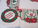 Christmas Trees Candy Stripes Novelty Vintage Printed Tablecloth (52 X 47)