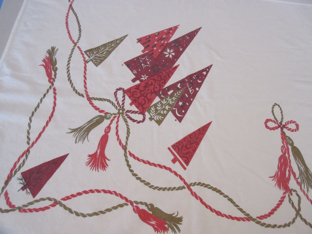 Burgundy Gold Christmas Trees Novelty Vintage Printed Tablecloth (58 X 52)