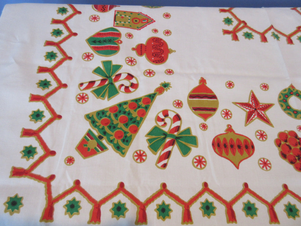 1960s Christmas Cookies Icons Gingerbread Novelty Vintage Printed Tablecloth (55 X 53)