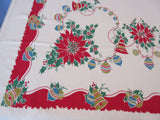 HTF Primary Christmas Ornaments Blue Startex Novelty Vintage Printed Tablecloth (60 X 52)