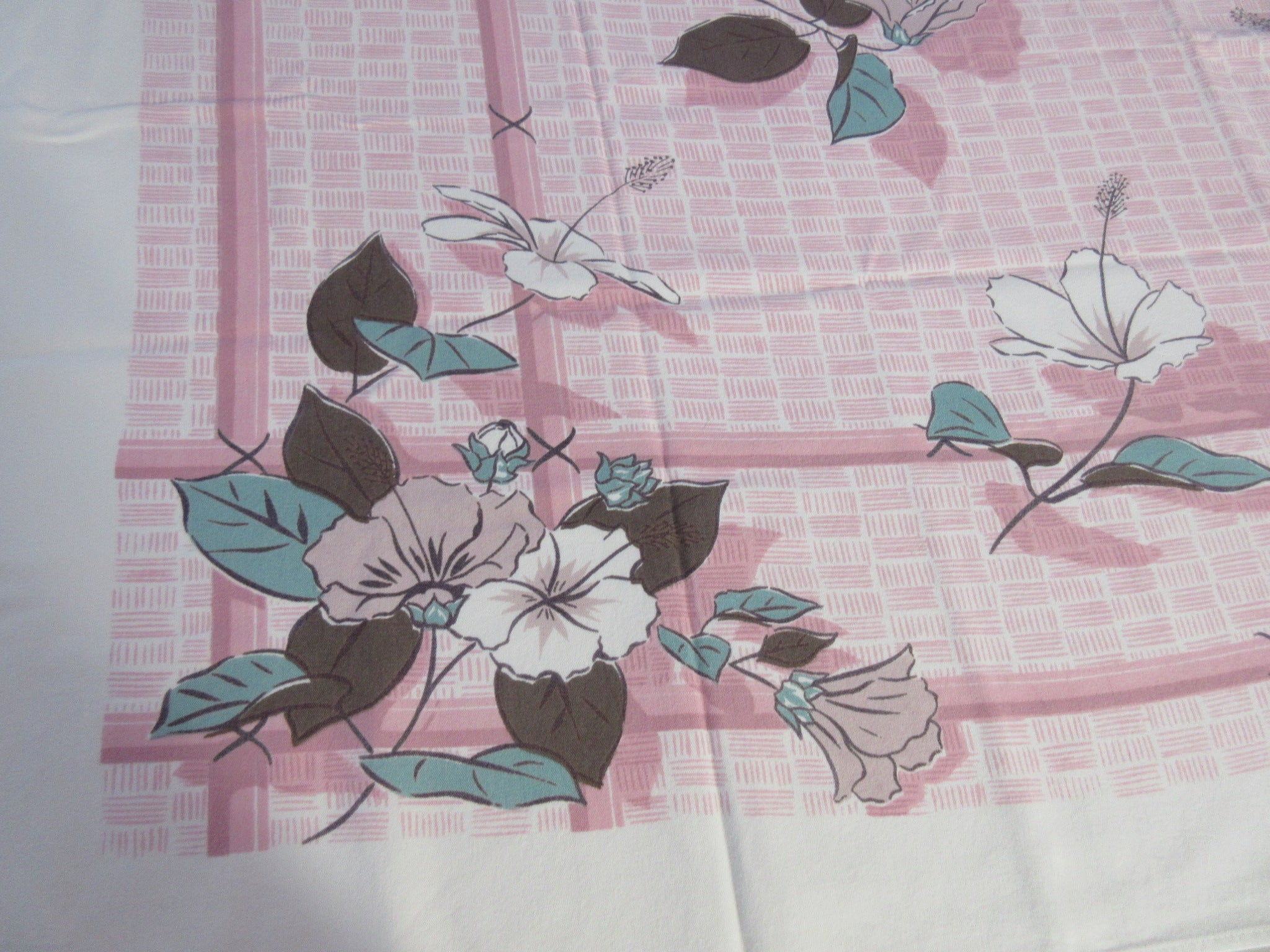 Tropical Pink White Hibiscus on Pink Basketweave Floral Vintage Printed Tablecloth (51 X 45)