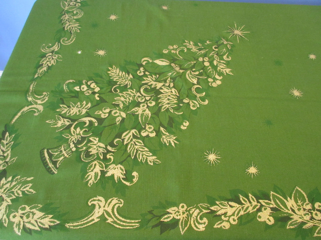 CHP Gold Christmas Trees on Green CUTTER Novelty Vintage Printed Tablecloth (72 X 47)