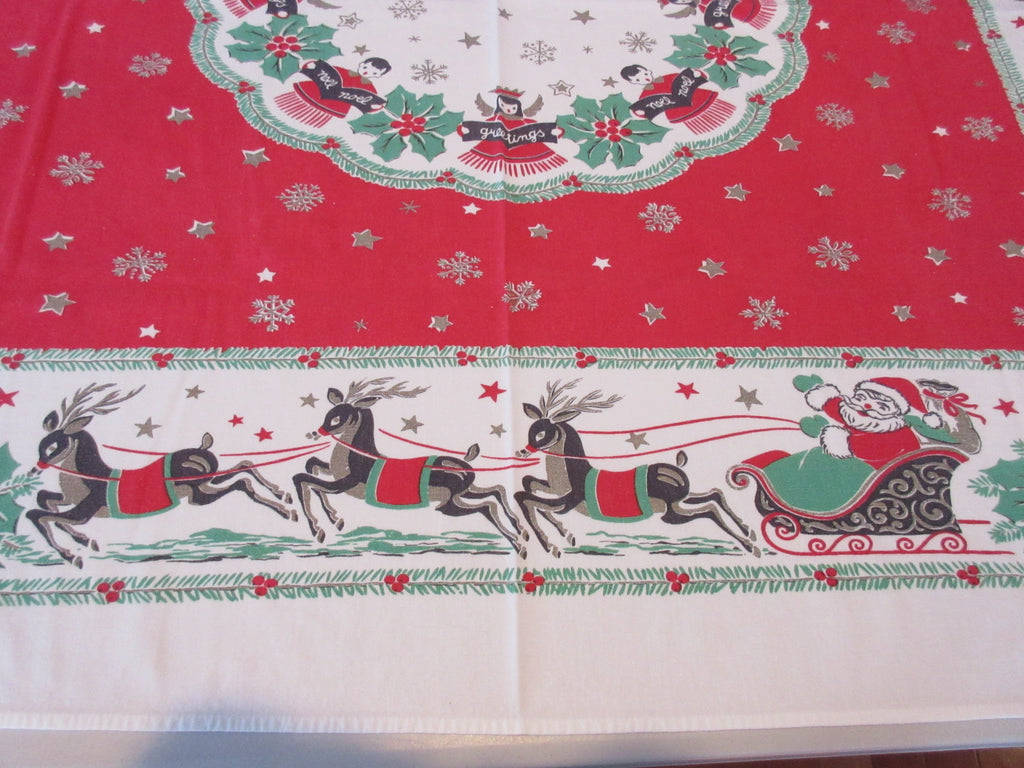 Shabby Christmas Angels Reindeer Houses on Red Novelty Vintage Printed Tablecloth (50 X 41)