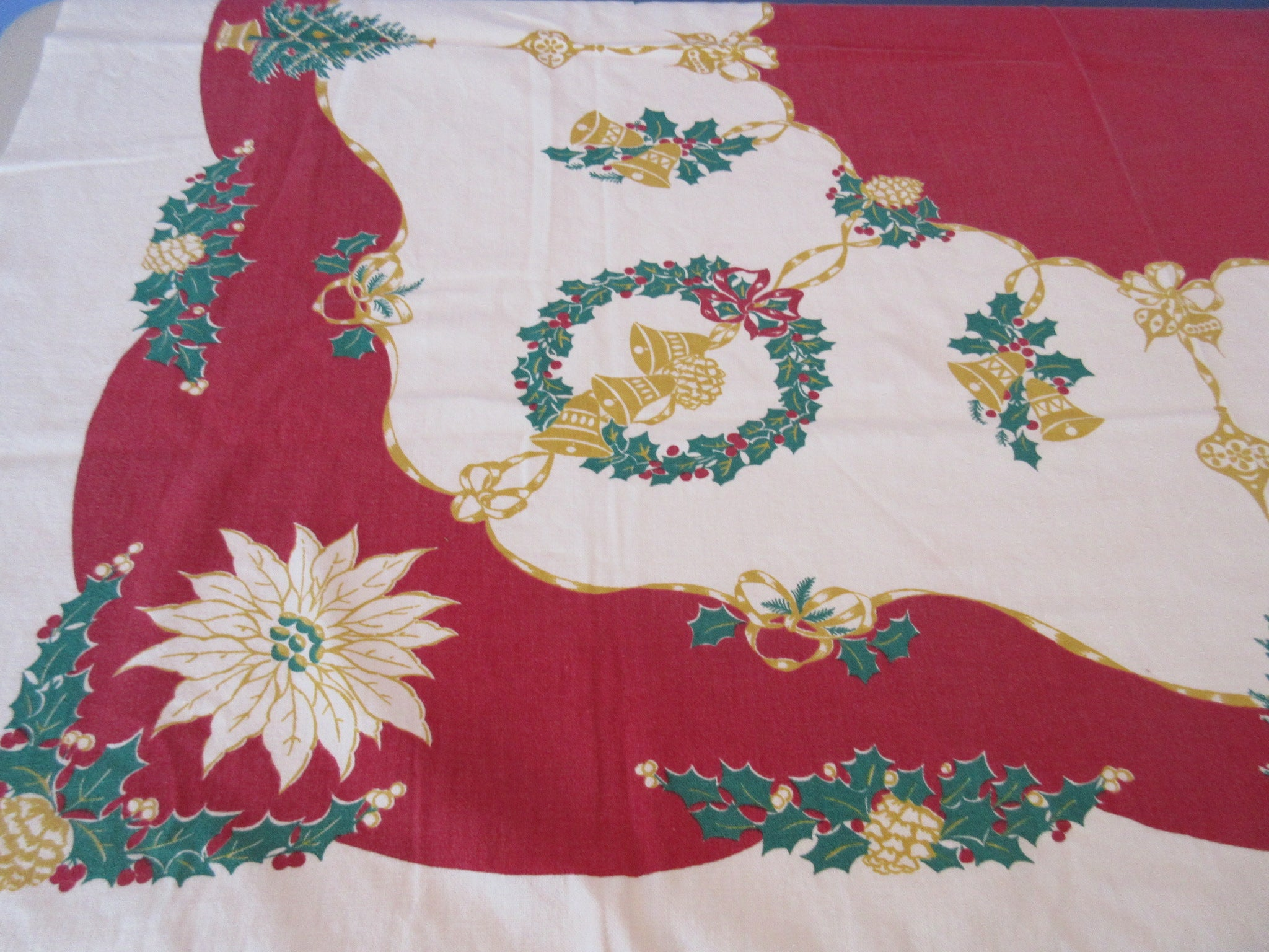 Shabby Golden Christmas Bells on Red Startex Novelty Vintage Printed Tablecloth (52 X 46)