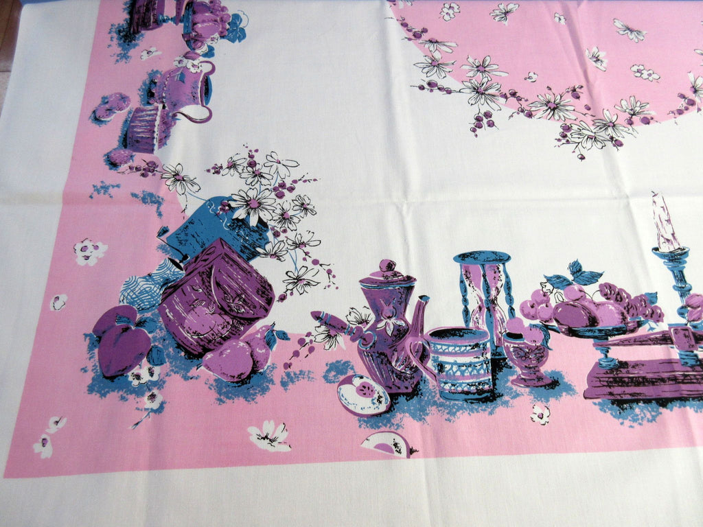 Pink Purple Teal 60s Teatime MWT Floral Vintage Printed Tablecloth (51 X 50)