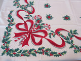 Simtex Christmas Candy Canes Ribbons Holly Novelty Vintage Printed Tablecloth (50 X 44)