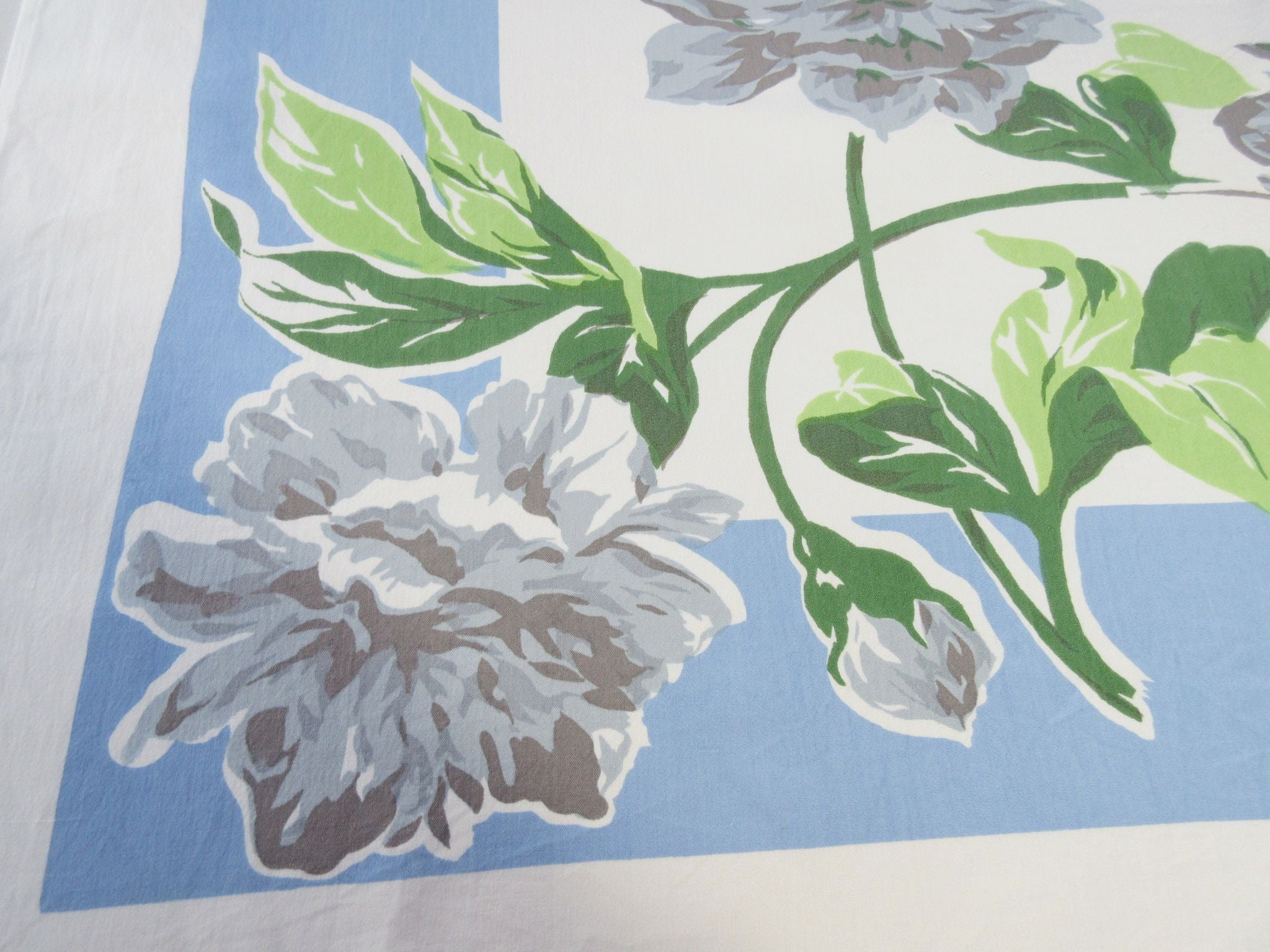 Giant Gray Peonies on Blue Floral Vintage Printed Tablecloth (52 X 46)