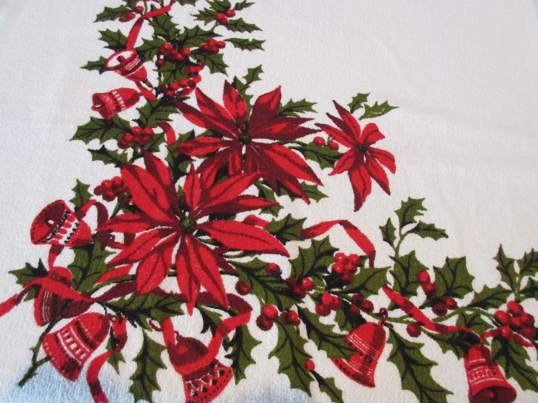 Wilendur Merry Terry Poinsettias Bells Christmas MWT Novelty Vintage Printed Tablecloth (54 X 52)