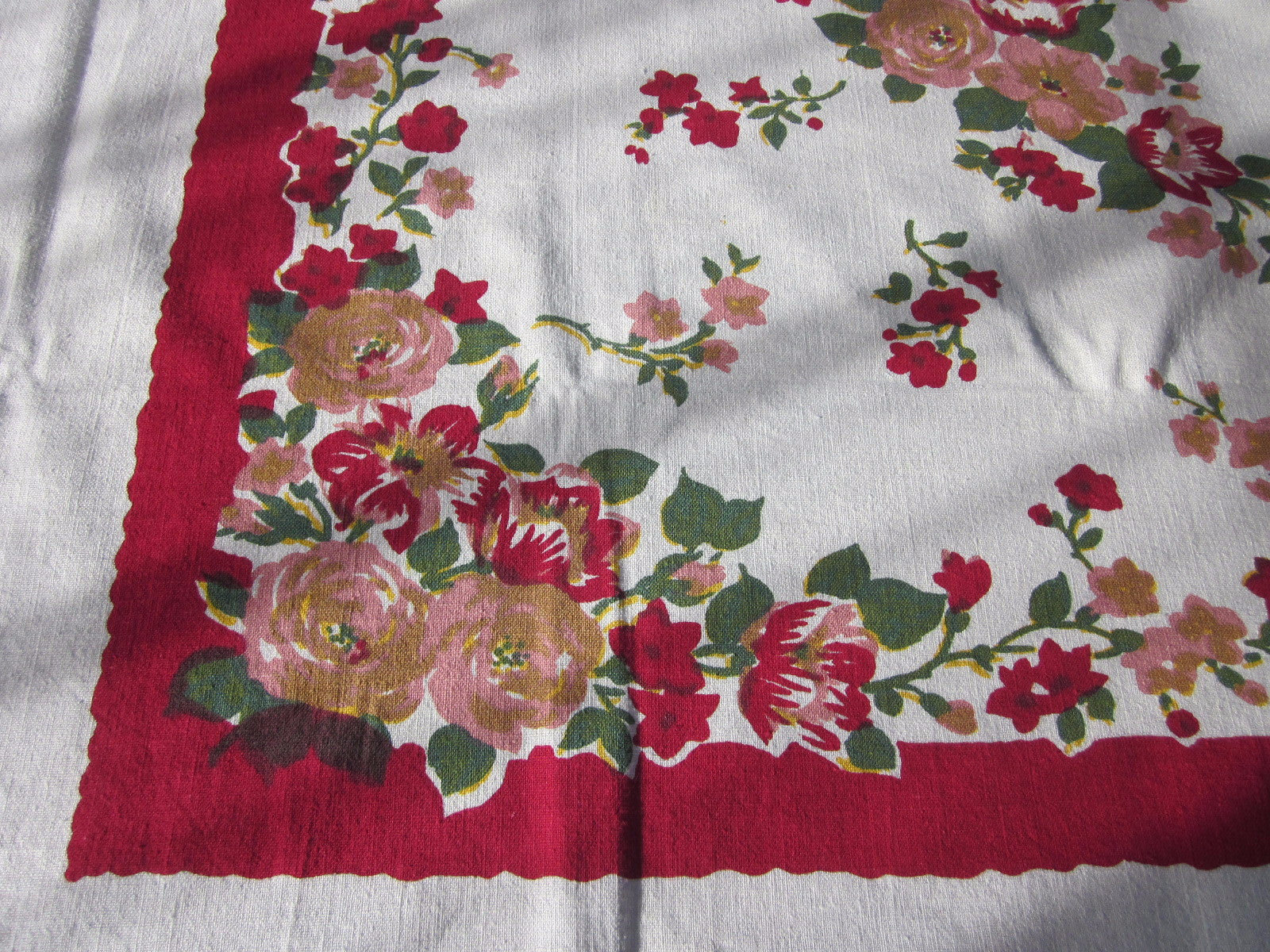 Large Smudgy Roses on Red Floral Vintage Printed Tablecloth (65 X 57)