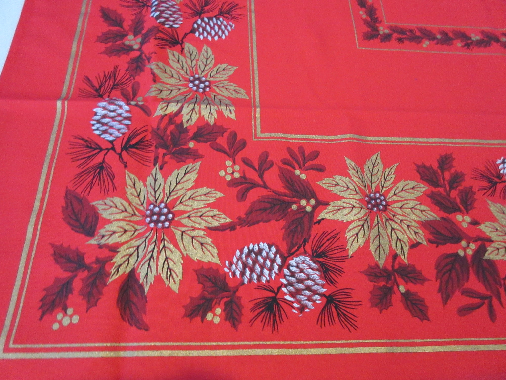 Gold Poinsettia Pinecones on Red Christmas MWT Novelty Vintage Printed Tablecloth (67 X 49)
