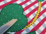 Green Shamrocks Red Plaid Cutter? Novelty Vintage Printed Tablecloth (49 X 46)