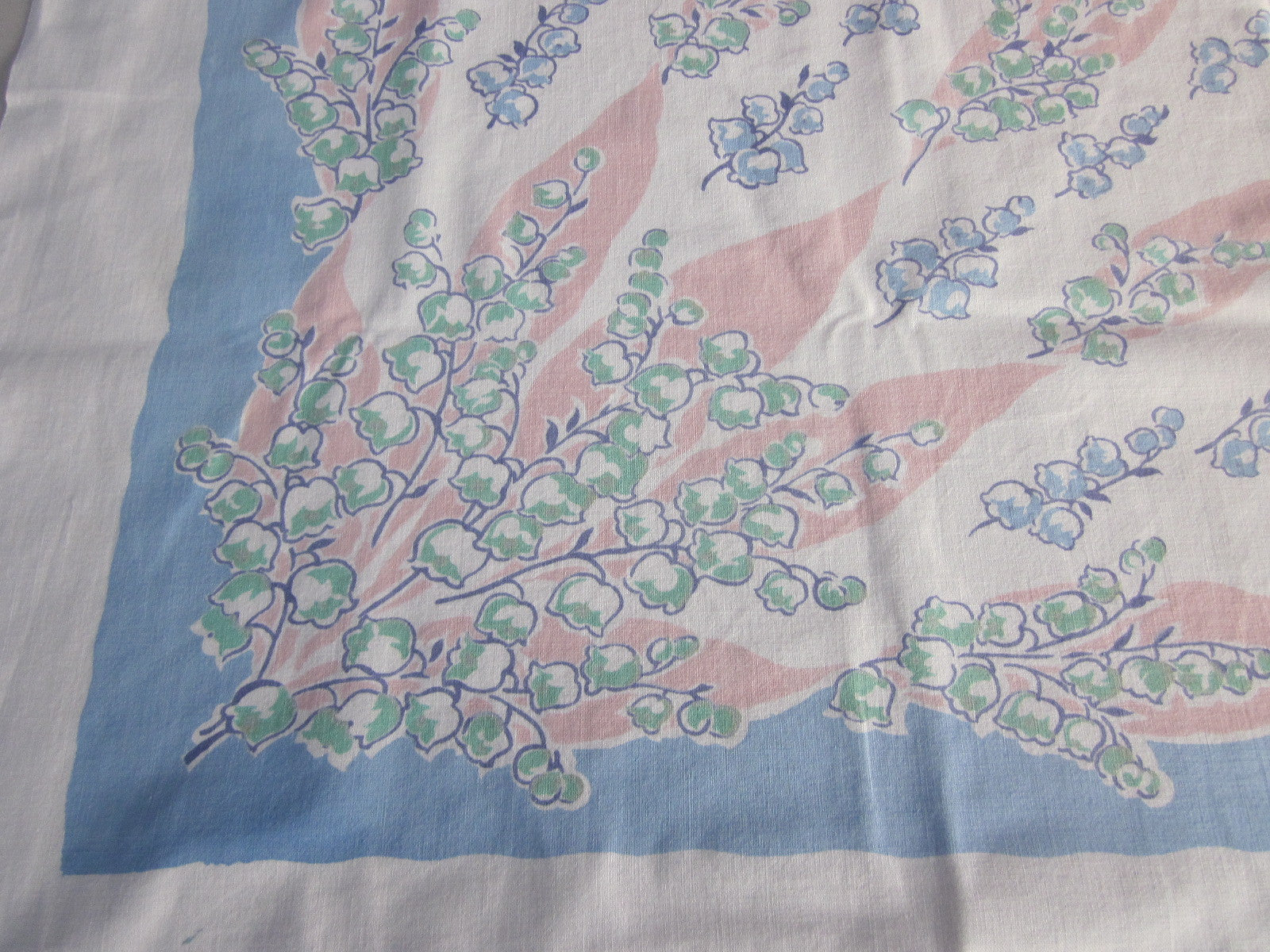 Pink Blue Pastel Lily Valley Floral Vintage Printed Tablecloth (51 X 47)