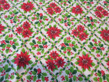 Christmas Poinsettia Holly MWT Novelty Vintage Printed Tablecloth