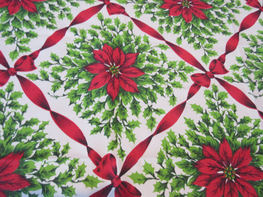 Large Christmas Ribbons Holly Bows MWT Novelty Vintage Printed Tablecloth (90 X 60)