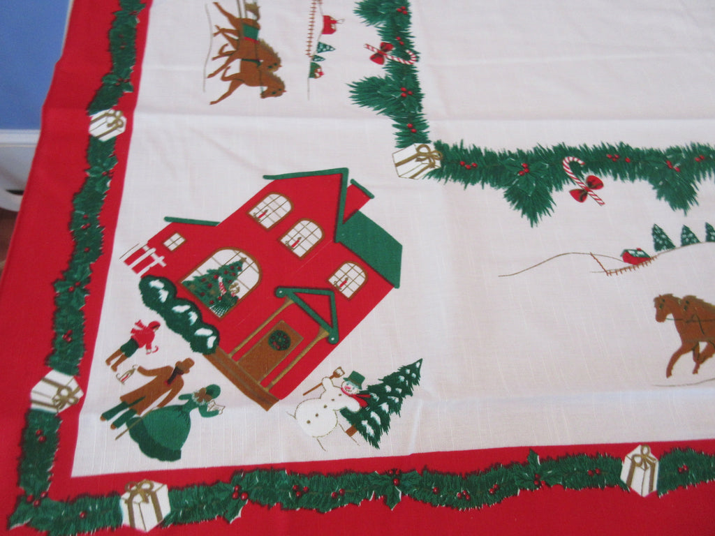 Grandma's House 1970s Poly Cotton Christmas Novelty Vintage Printed Tablecloth (86 X 62)