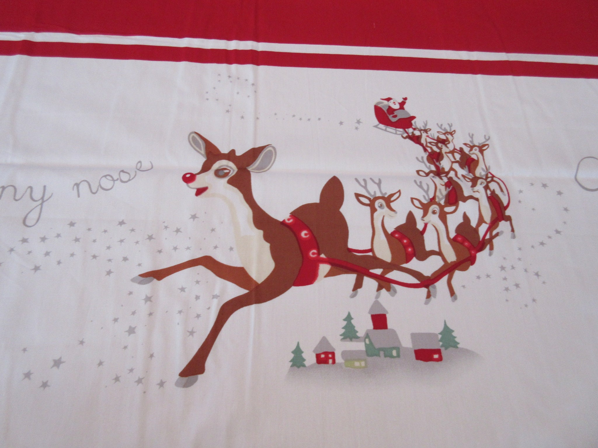 Vintage Inspired Pottery Barn Kids Rudolph Christmas Novelty Vintage Printed Tablecloth (90 X 68)