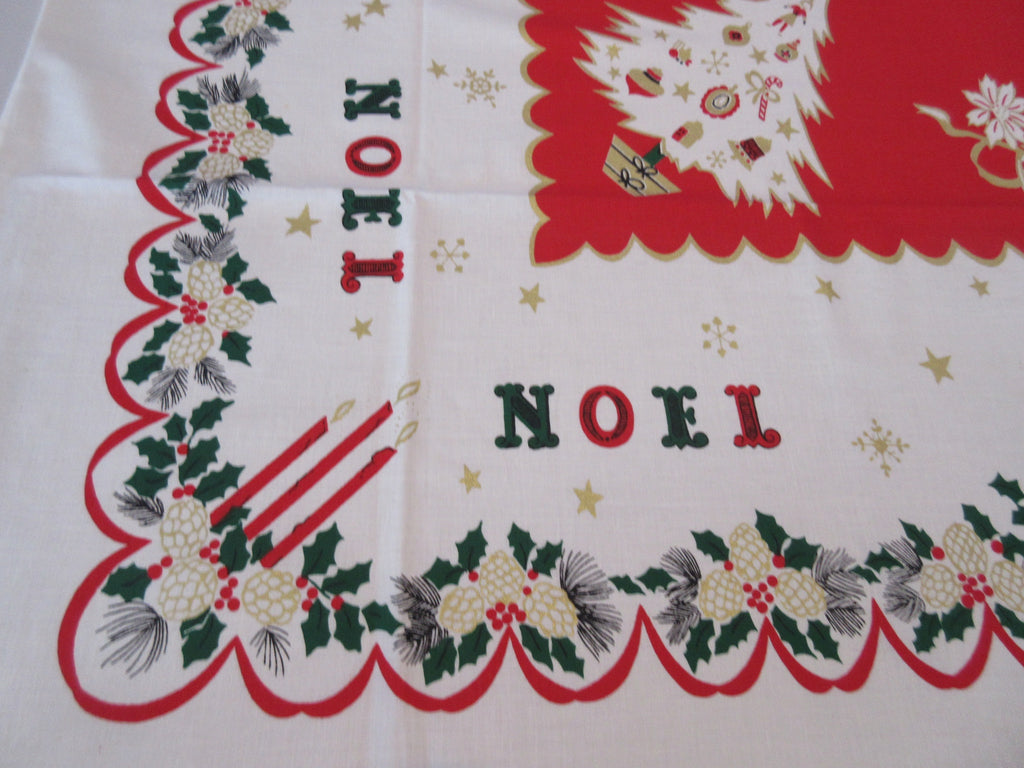 Gold Green Noel Christmas MWT Novelty Vintage Printed Tablecloth (69 X 52)