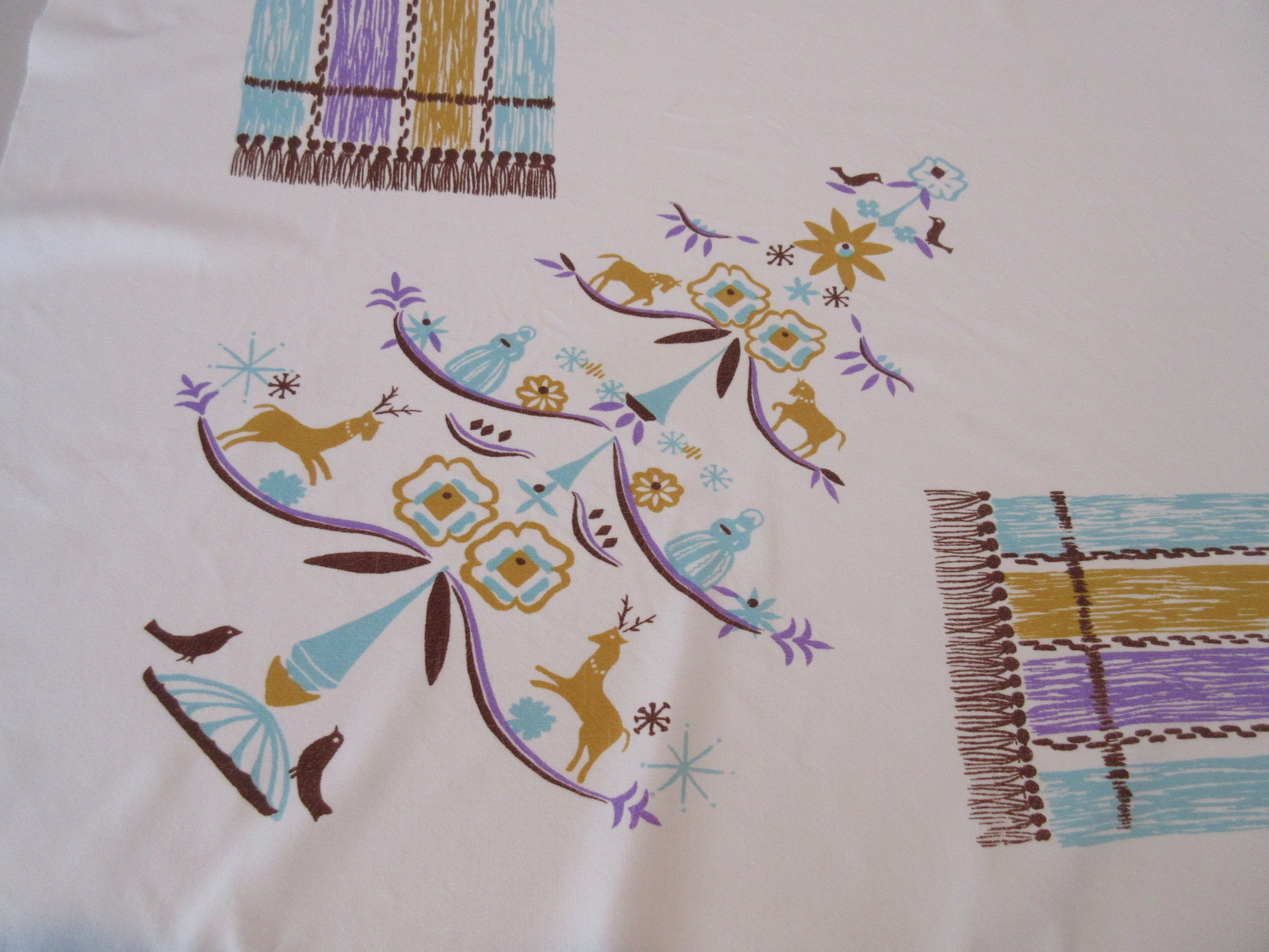 Rare Damaged CHP Pastel Feather Tree Christmas Novelty Vintage Printed Tablecloth (52 X 46)