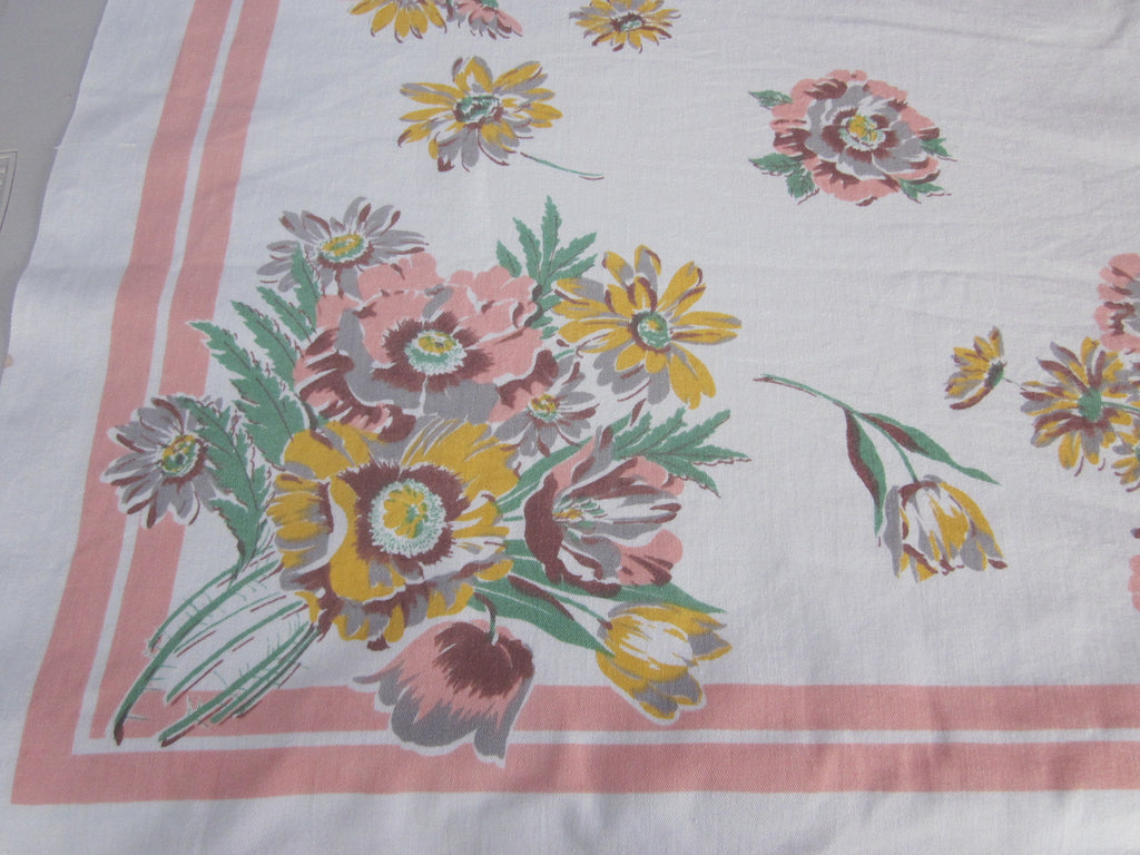 Unusual Poppies Daisies on Peach Floral Vintage Printed Tablecloth (52 X 46)