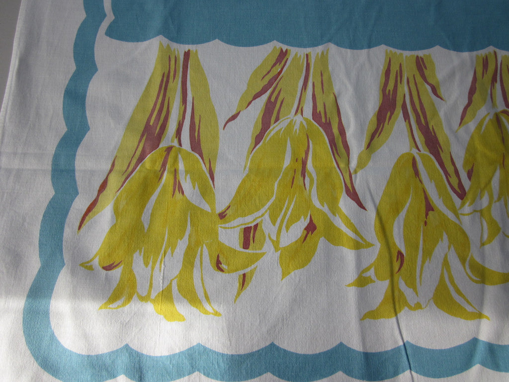 Yellow Tulips on Blue Floral Vintage Printed Tablecloth (64 X 51)