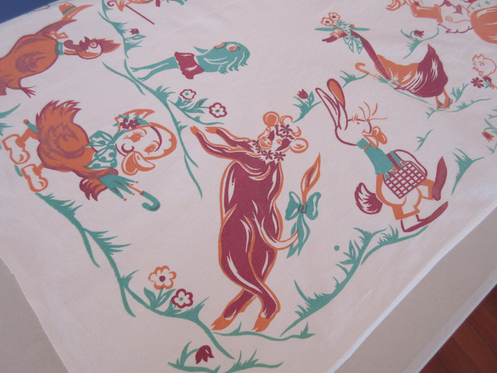 Rare Anthropomorphic Animals Elsie Cow Novelty Vintage Printed Tablecloth (35 X 33)