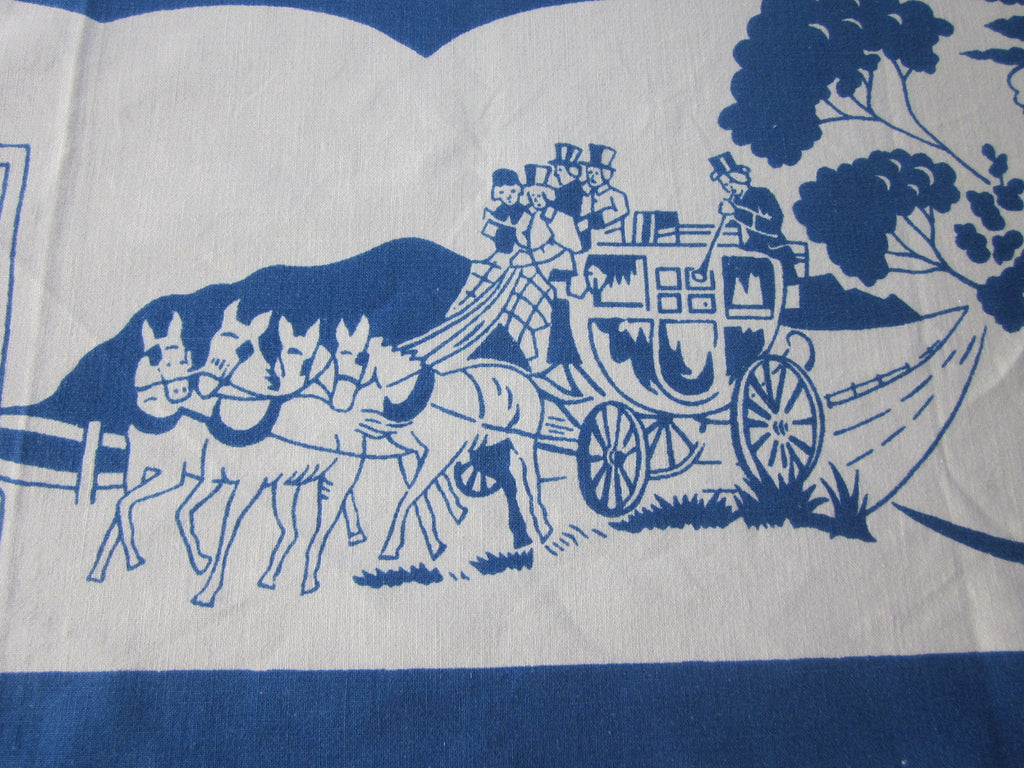Early Colonial Courting People Dining Carriages Novelty Vintage Printed Tablecloth (46 X 46)