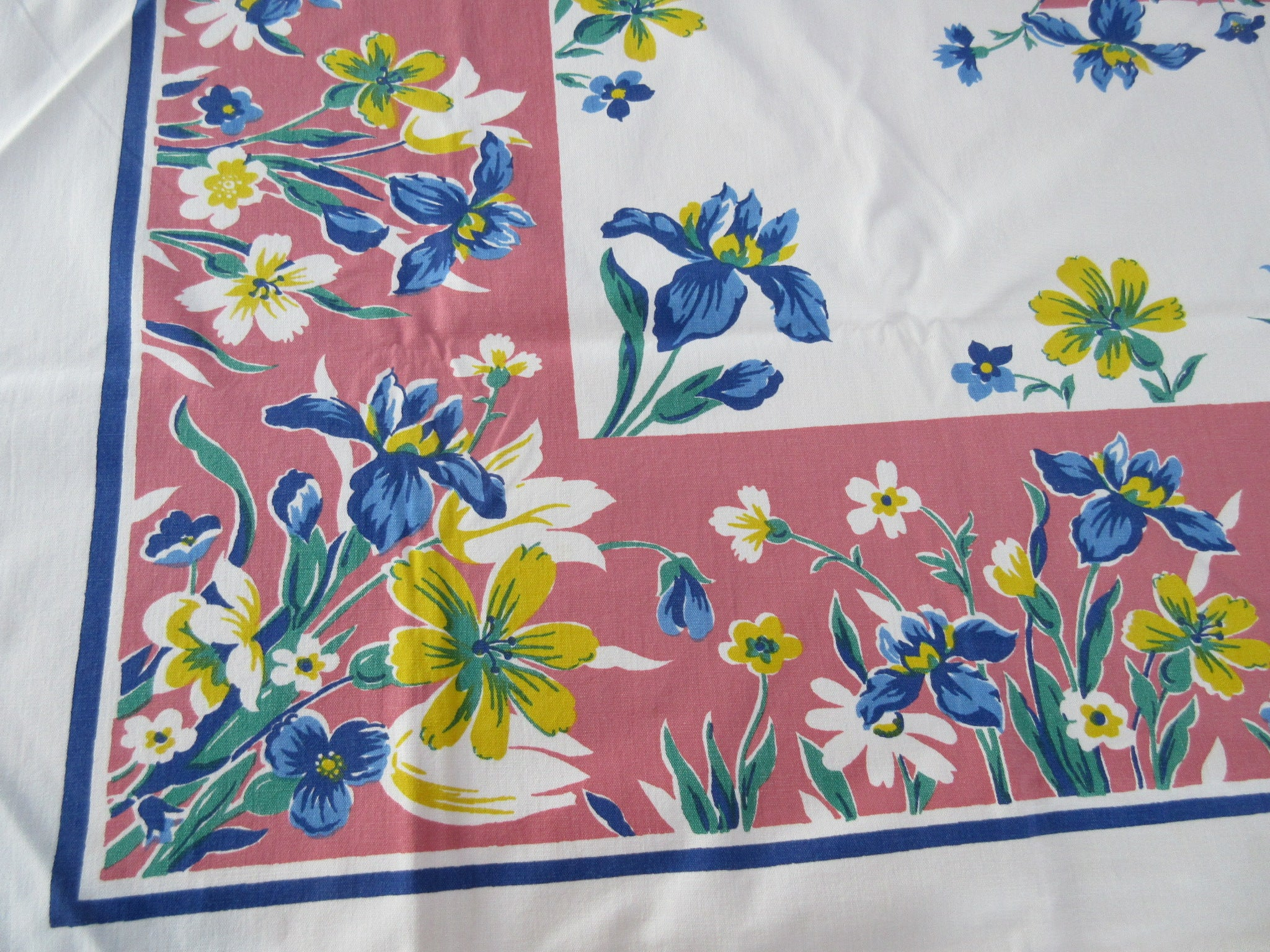 Bright Blue Iris on Pink Floral Vintage Printed Tablecloth (52 X 45)