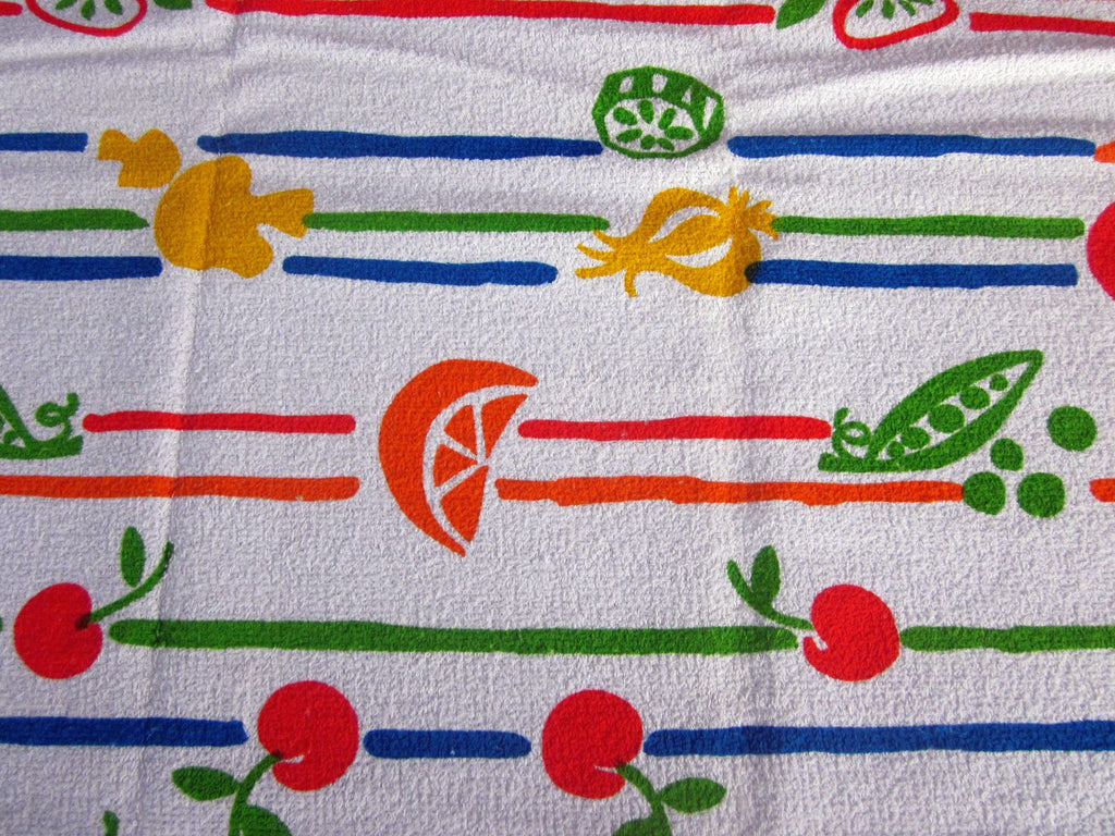 Terry Veggie Fruit Stripes MWT Vintage Printed Tablecloth (69 X 52)
